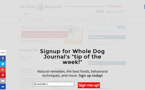 Screenshot of Contact Page whole-dog-journal.com - Contact Us   Whole Dog Journal - captured Jan. 16, 2016