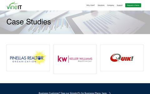 Screenshot of Case Studies Page vineit.com - Case Studies | VineIT for Business | SimplicITy Suite - captured Aug. 13, 2016