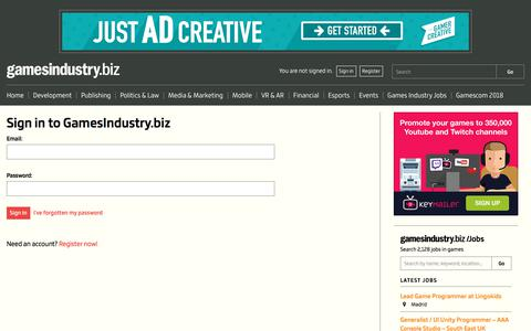 Screenshot of Login Page gamesindustry.biz - Sign in to GamesIndustry.biz | GamesIndustry.biz - captured Sept. 21, 2018