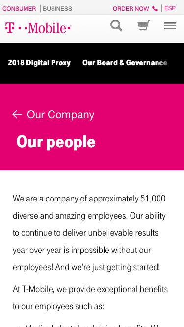 Screenshot of Team Page  t-mobile.com - Our People