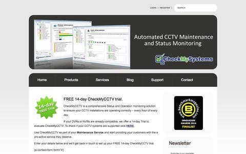 Screenshot of Trial Page checkmysystems.com - Free 14-day CheckMyCCTV Trial CheckMySystems - captured Sept. 29, 2014