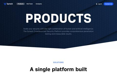 Screenshot of Products Page synack.com - Products - Synack - captured April 9, 2019