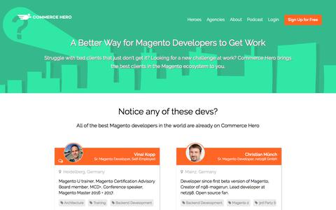 Screenshot of Developers Page commercehero.io - A Better Way for Magento Developers to Get Work | Commerce Hero - captured Sept. 21, 2018