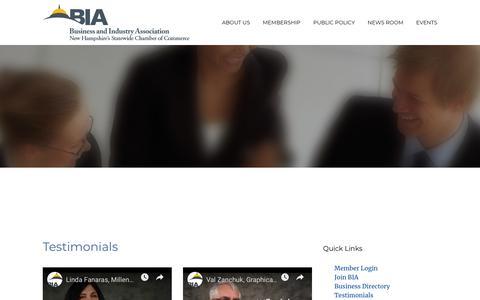 Screenshot of Testimonials Page biaofnh.com - Testimonials - captured Nov. 13, 2018