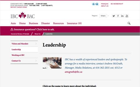 Screenshot of Team Page ibc.ca - Leadership - captured Aug. 28, 2016