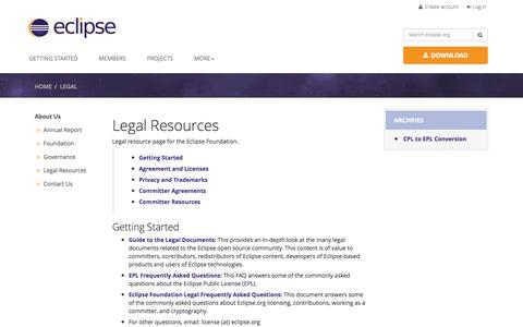 Screenshot of Terms Page eclipse.org - Legal Resources - captured Oct. 29, 2014