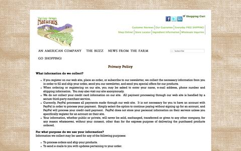 Screenshot of Privacy Page valleygreennaturals.com - Privacy Policy «  Valley Green Naturals - captured Oct. 27, 2014