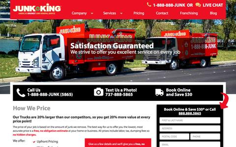 Screenshot of Pricing Page junk-king.com - Pricing - Junk Removal and Hauling Services | Junk King - captured Jan. 12, 2017