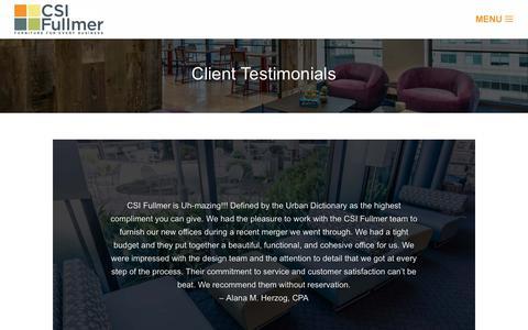 Screenshot of Testimonials Page csifullmer.com - Testimonials - CSI Fullmer - captured Dec. 7, 2018