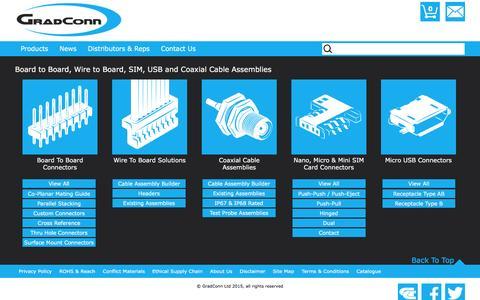 Screenshot of Products Page gradconn.com - Product Ranges - PCB Connectors and cable assemblies | GradConn - captured Dec. 13, 2015