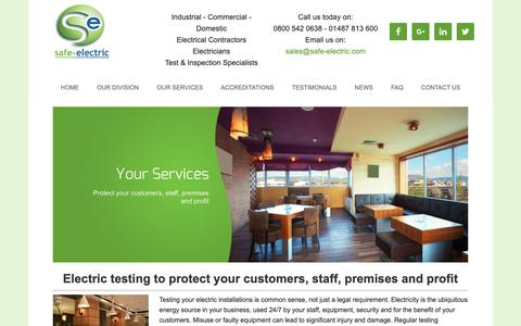 Screenshot of Services Page safe-electric.com - Your Services – Making Sure Your Customers are Safe - captured Oct. 1, 2018