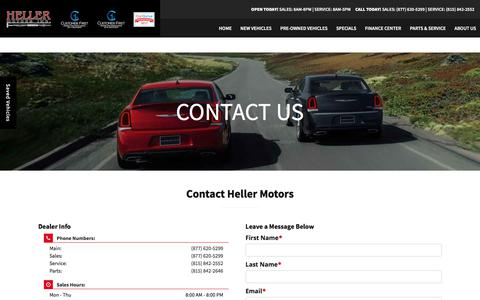Screenshot of Contact Page hellermotors.com - Contact Heller Motors | Jeep & Chrysler Dealer near Normal, IL - captured July 18, 2018