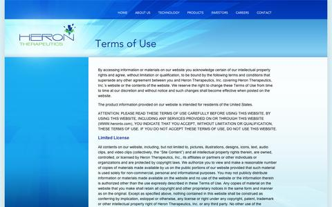 Screenshot of Terms Page appharma.com - Heron Therapeutics . A Specialty Pharmaceutical Company - captured Sept. 10, 2014