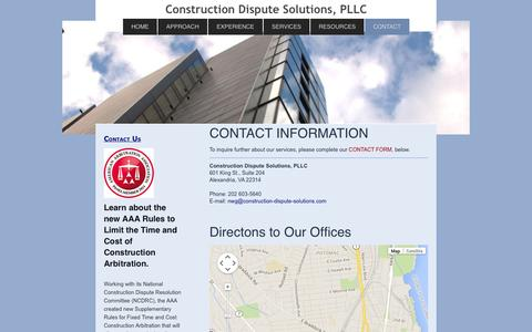 Screenshot of Contact Page construction-dispute-solutions.com - Construction Dispute Resolution Services, PLLC - CONTACT - captured Nov. 2, 2014