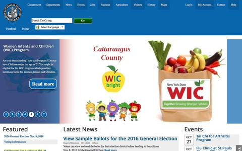 Screenshot of Home Page cattco.org - Cattaraugus County Government | Cattaraugus County - captured Oct. 27, 2016