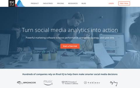 Screenshot of Home Page rivaliq.com - Rival IQ: Competitive Social Media Analytics for Digital Marketers - captured April 21, 2017