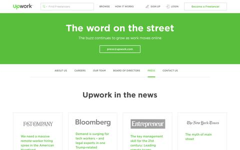 Screenshot of Press Page upwork.com - Press, News & Media Coverage | Upwork - captured July 28, 2017