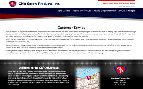 Screenshot of Support Page ohioscrew.com - Ohio Screw Products provides excellent customer service - captured Oct. 18, 2018