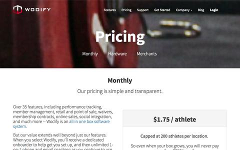 Screenshot of Pricing Page wodify.com - Wodify Pricing - Software for Box Owners and their Athletes - captured Oct. 26, 2014