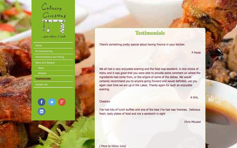 Screenshot of Testimonials Page culinaryoccasions.co.uk - Culinary Occasions Cumbria Testimonisals and review | Culinary Occasions - captured Dec. 14, 2015