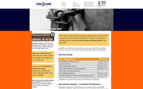 Screenshot of Pricing Page coolflame.co.uk - Cool Flame Heating - Fixed Prices for all powerflushing, landlord certificates, gas fitting & central heating installation & repairs - captured Oct. 3, 2014