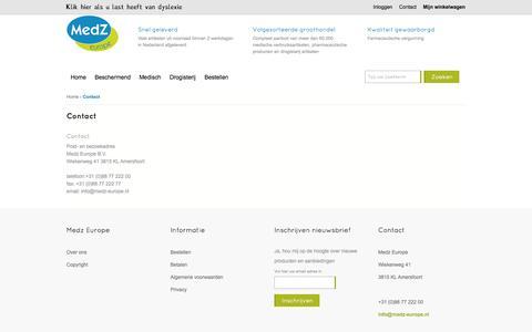 Screenshot of Contact Page medz-europe.nl - Contact  - Medz Europe B.V. - captured Oct. 3, 2014