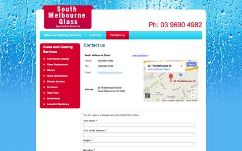Screenshot of Contact Page southmelbourneglass.com.au - Contact us | South Melbourne Glass - captured Oct. 7, 2014