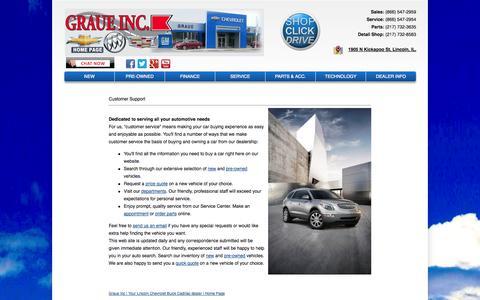Screenshot of Support Page graueinc.com - Customer Service Department from Graue Inc - captured Sept. 30, 2014
