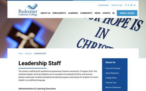 Screenshot of Team Page redeemer.com.au - Leadership Staff | Redeemer Lutheran College - captured Nov. 18, 2018