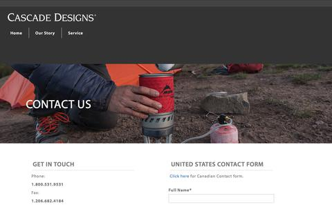 Screenshot of Contact Page cascadedesigns.com - Contact Us | United States - captured July 16, 2018