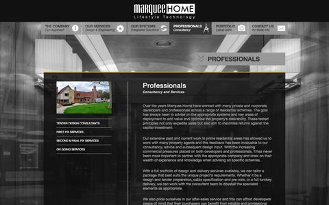 Screenshot of Developers Page marqueehome.co.uk - Professionals - MarqueeHome - captured Oct. 27, 2014