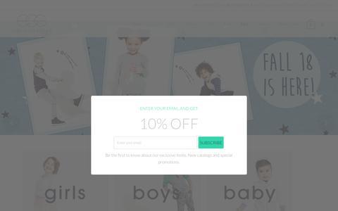Screenshot of Home Page egg-baby.com - Children's Boutique Clothing | Egg by Susan Lazar - captured Sept. 27, 2018