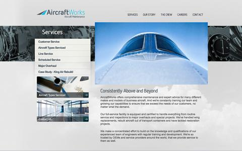 Screenshot of Services Page aircraftworks.ca - Aircraft Works | Consistently Above and Beyond - captured Feb. 5, 2016
