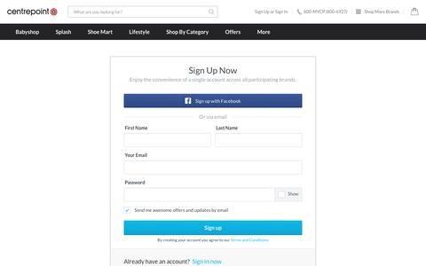 Screenshot of Signup Page centrepointstores.com - Online Shopping at Centrepoint - captured Nov. 24, 2016