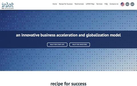 Screenshot of Home Page inlat.biz - inlat | startups go global - captured Dec. 15, 2015