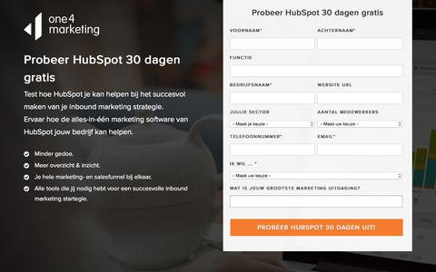 Screenshot of Trial Page one4marketing.nl - HubSpot Trial - Probeer HubSpot 30 dagen gratis uit - captured Jan. 13, 2016