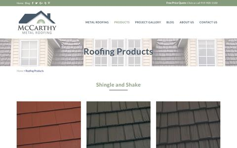 Screenshot of Products Page northcarolinametalroofs.com - Metal Roofing Products: Chapel Hill, Durham, Raleigh, NC: McCarthy Metal Roofing - captured Oct. 18, 2017
