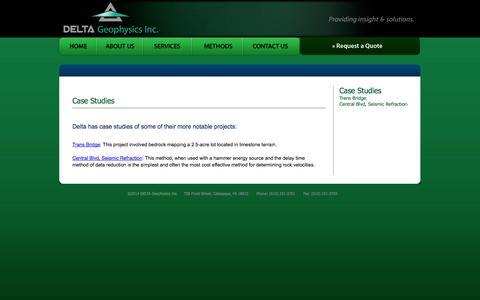 Screenshot of Case Studies Page deltageophysics.com - Delta Geophysics | Case Studies - captured Oct. 5, 2014
