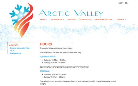 Screenshot of Hours Page arcticvalley.org - Hours - Arctic Valley Ski Area - captured April 6, 2017
