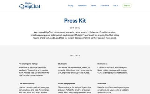 Screenshot of Press Page hipchat.com - HipChat - Press - captured June 17, 2015