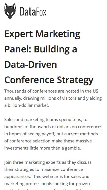 Screenshot of Landing Page  datafox.com - Expert Marketing Panel:Building a Data-Driven Conference Strategy