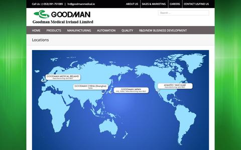 Screenshot of Locations Page goodmanmedical.ie - Locations | Goodman Medical Ireland Ltd - captured Nov. 2, 2014