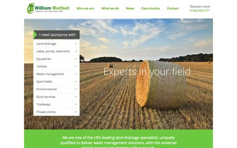 Screenshot of Home Page Privacy Page williammorfoot.co.uk - Land Drainage Systems | Sustainable Drainage | William Morfoot - captured Oct. 9, 2014