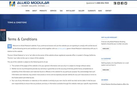 Screenshot of Terms Page alliedmodular.com - Allied Modular, Modular Building Systems, Terms & Conditions | Allied Modular - captured Nov. 2, 2014