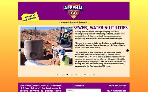 Screenshot of Home Page arsenalgc.com - Arsenal General Contractors - Nogales, Arizona - captured Feb. 6, 2016
