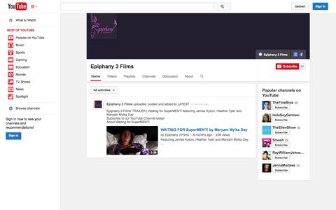 Screenshot of YouTube Page youtube.com - Epiphany 3 Films  - YouTube - captured Oct. 22, 2014