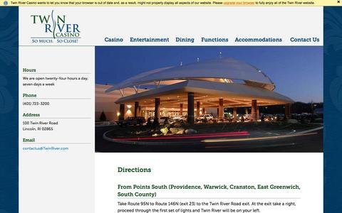 Screenshot of Maps & Directions Page twinriver.com - Directions - Twin River Casino - captured Nov. 17, 2015