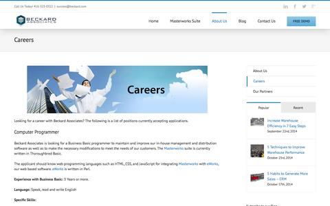 Screenshot of Jobs Page beckard.com - Careers at Beckard Associates - captured Feb. 7, 2016