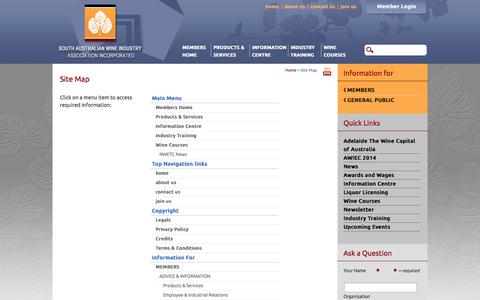 Screenshot of Site Map Page winesa.asn.au - Site Map - South Australian Wine Industry Association (SAWIA) - captured Oct. 6, 2014