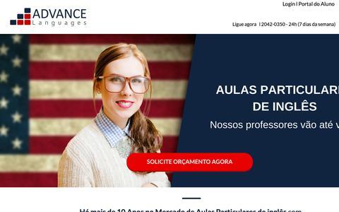 Screenshot of Home Page advancelanguages.com.br - Aulas Particulares de Inglês - captured Oct. 2, 2018